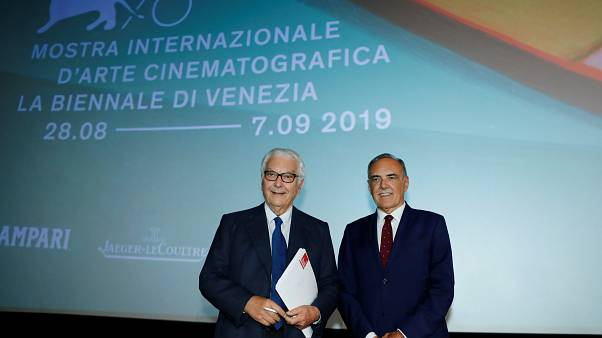Paolo Baratta and Alberto Barbera pose ahead of announcement of the 76th Venice Film Festival line-up