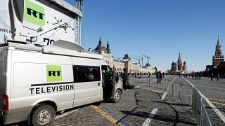 Kızıl Meydan'da yayın yapan Russia Today'e ait canlı yayın aracı / Moskova