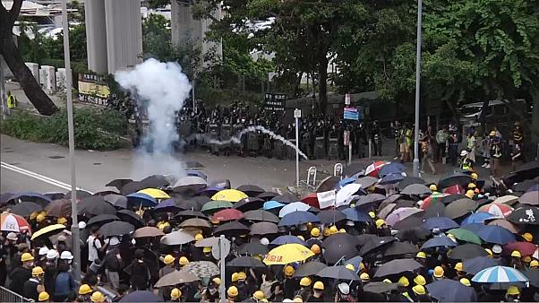 Hong Kong police fire tear gas in clashes with protesters