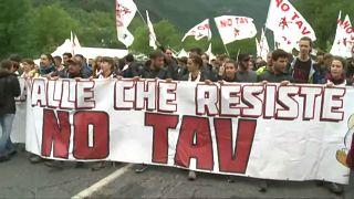 Tüntetés a Torinó-Lyon vasútvonal ellen