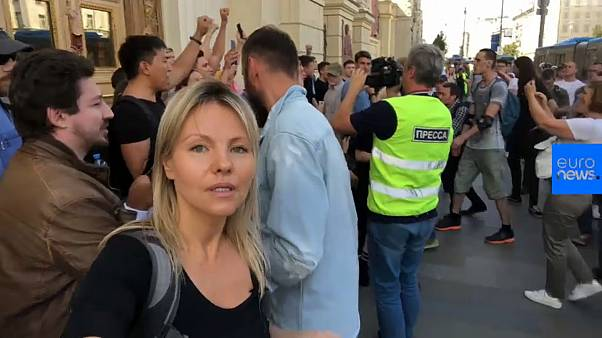 Watch: Protesters call for free elections at Moscow demonstration