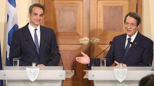 Δηλώσεις στα ΜΜΕ του Προέδρου της Κύπρου Ν.Αναστασιάδη με τον Πρωθυπουργό της Ελλάδας στο Προεδρικό Μέγαρο, Λευκωσία, Κύπρος