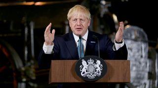 رئيس الوزراء البريطاني بوريس جونسون في مانشستر يوم 27 يوليو تموز 2019.