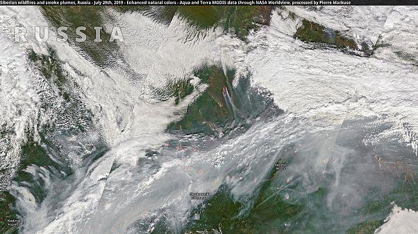 Los incendios de Siberia desde el espacio, esta mañana