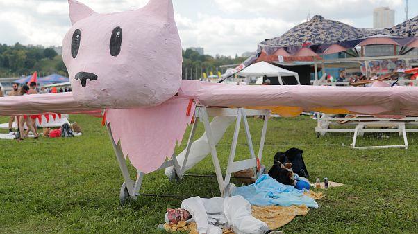 Розовый кот летает и плавает