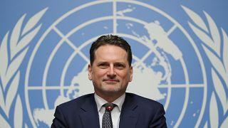 بيير كرينبول المفوض العام لوكالة الأمم المتحدة لإغاثة وتشغيل اللاجئين الفلسطينيين (الأونروا) خلال مؤتمر صحفي في جنيف يوم 29 يناير كانون الثاني 2019