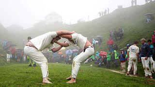 Des lutteurs de Ranggeln, le 28 juillet dernier en Autriche