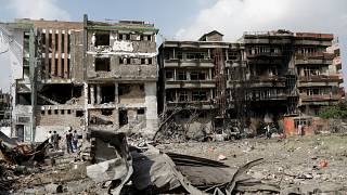 FILE PHOTO: Damaged buildings are seen after Sunday's attack in Kabul, Afghanistan July 29, 2019.