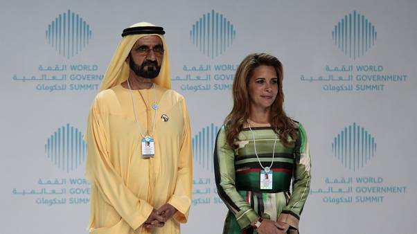 FILE Dubai Sheikh Mohammed bin Rashid al-Maktoum and his wife Princess Haya bint al-Hussein attend the World Government Summit in Dubai, United Arab Emirates February 11, 2018