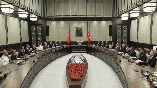 Milli Güvenlik Kurulu, Türkiye Cumhurbaşkanı Recep Tayyip Erdoğan başkanlığında Cumhurbaşkanlığı Külliyesi'nde toplandı.