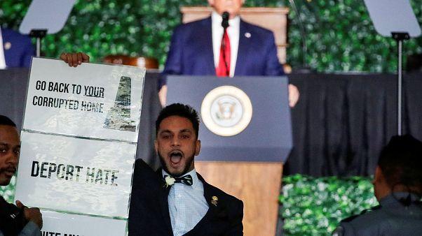 Müslüman siyasetçi 'Bizi geri gönderemezsin' diye bağırarak Başkan Trump'ı protesto etti