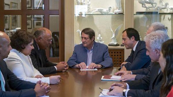 Ο Πρόεδρος της Κύπρου, Νίκος Αναστασιάδης με τον Υπουργό Εξωτερικών της Αιγύπτου Σαμέχ Σούκρι και τον Υπ. Εξ Κύπρου, Νίκο Χριστοδουλίδη