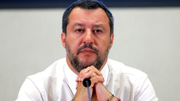 نائب رئيس الوزراء الإيطالي ماتيو سالفيني يخاطب مؤتمرا صحفيا في نهاية اجتماع لمناقشة ميزانية 2020 المقبلة، في فيمينال بالاس، روما، إيطاليا 15 يوليو 2019