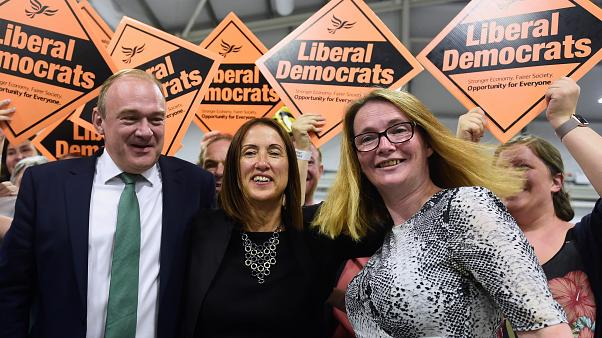 Liberal Democrats candidate Jane Dodds (C) after winning the by-election in  Brecon and Radnorshire. August 2, 2019.