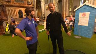 Rochester Cathedral turns medieval nave into mini-golf course