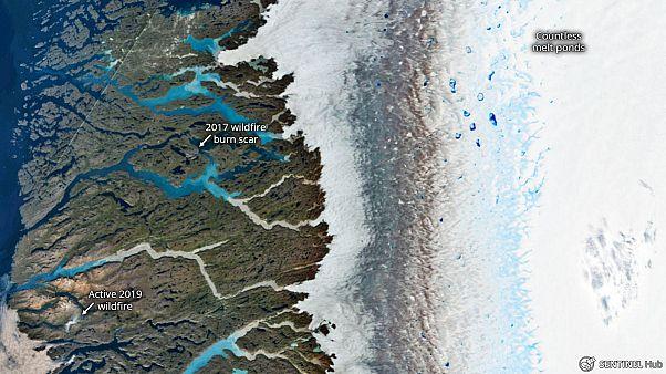 Lac formé par la fonte des glaces et feux forets dans l'ouest du Groenland
