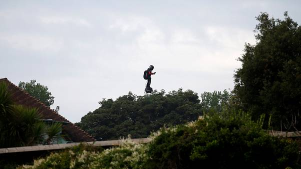 rench inventor Franky Zapata arrives to Dover on a Flyboard during his second attempt to cross the English channel from Sangatte to Dover, Britain August 4, 2019