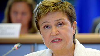 كريستينا جورجيفا من بلغاريا في برلمان الاتحاد الأوروبي في بروكسل