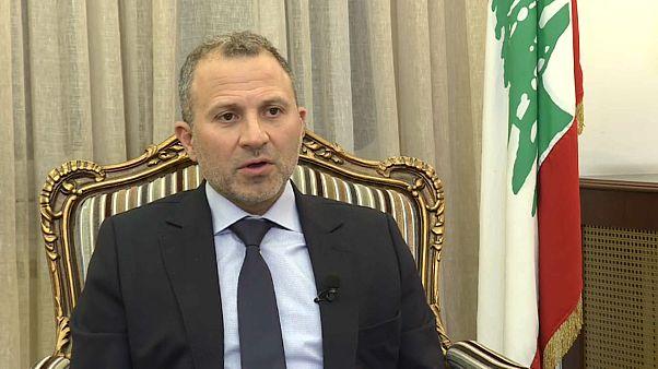 وزير الخارجية اللبناني جبران باسيل من مقابلته مع قناة يورونيوز ببيروت. آب 2019