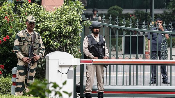 Security personnel stand guard outside Indian Prime Minister Narendra Modi's house in New Delhi, India, August 5, 2019.
