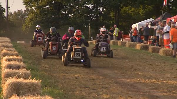 A cut above: Contestants race lawnmowers in UK endurance event