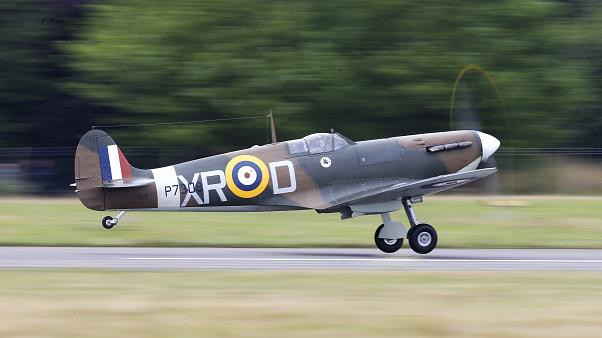 Watch again: British pilots take off in restored Spitfire for a tour around the globe