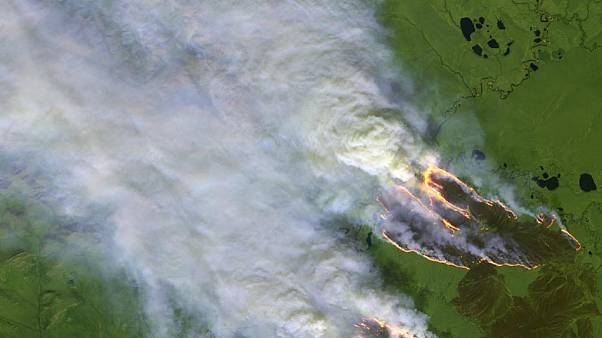 Copernicus monitoring of Arctic fires in the Sakha Republic, 4 August 2019