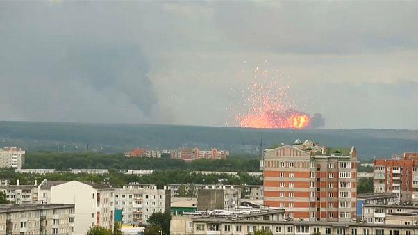 Aufnahmen zeigen die Explosionen in der Ferne