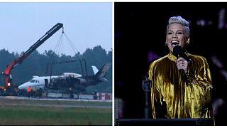 شاهد: تحطم طائرة تقل فرقة المغنية الأمريكية بينك في مطار دنماركي