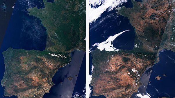 La Península Ibérica y Francia en mayo y en julio de 2019.