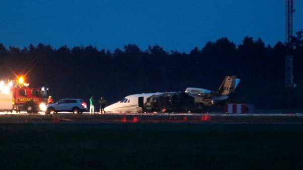 Private jet carrying members of singer Pink's team crash lands in Denmark