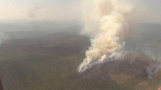Vista aérea do incêndio na Sibéria
