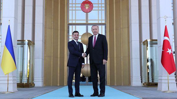 Türkiye Cumhurbaşkanı Recep Tayyip Erdoğan, Ukrayna Devlet Başkanı Vladimir Zelenskiy'i resmi törenle karşıladı. ( Cumhurbaşkanlığı / Kayhan Özer - Anadolu Ajansı )