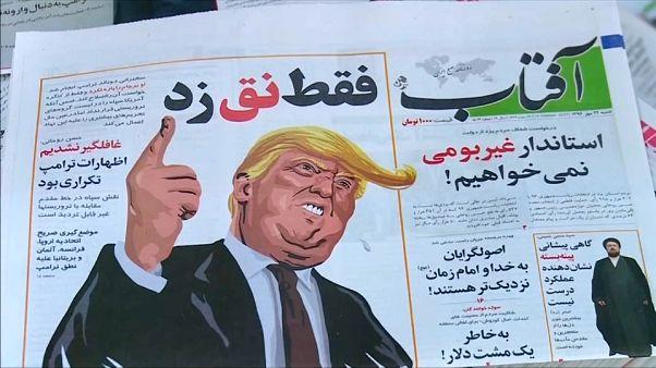Trump - sotto forma di caricatura - campeggia anche sui quotidiani iraniani.