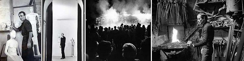 photo credits: Philip Boucas), Performance του Takis με Σινιάλα-Πυροτεχνήματα (photo credits: André Morain), o Takis στο ατελιέ του στη rue d'Odessa (photo credits: Martha Rocher