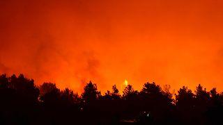 Çanakkale'nin Eceabat ilçesinde çıkan orman yangınını kontrol altına alma çalışmaları sürüyor