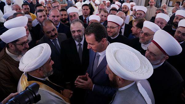الرئيس السوري بشار الأسد بجامع الأفرم في دمشق في أول أيام عيد الأضحى. 11/آب 2019