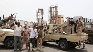 مسلحون من الإنفصالين الجنوبيين بمدينة عدن المدعومين من الإمارات العربية المتحدة. آب 2019