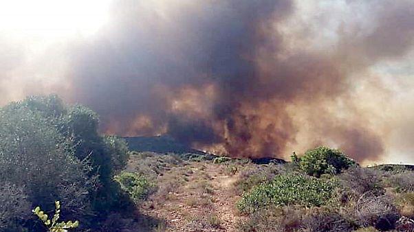 Σε ύφεση η πυρκαγιά στην Ελαφόνησο-Κίνδυνος και τη Δευτέρα
