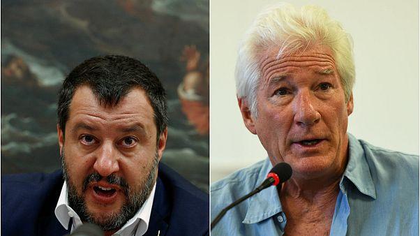 Salvini'den denizdeki göçmenlere yardım eden Gere'e: Özel jetinle Hollywood'daki villana götür