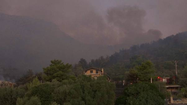 Atenas amenazada por un incendio a 11 kilómetros