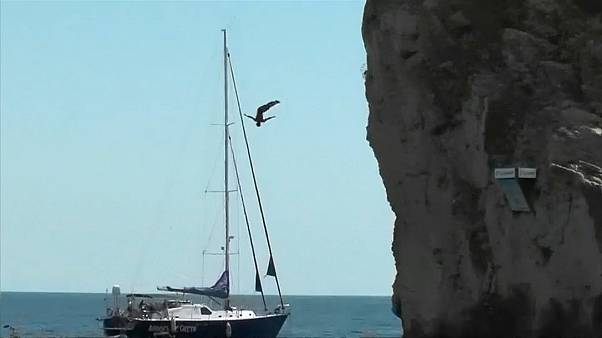 Watch: Valiant vaults into the Black Sea at cliff diving competition
