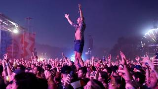 Festival goers party at Sziget