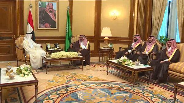 شاهد: محمد بن زايد في ضيافة العاهل السعودي وولي عهده
