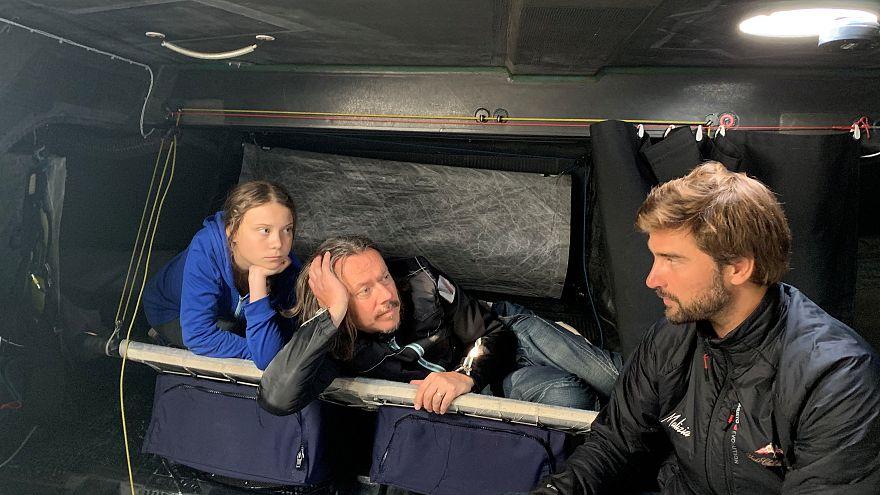 رویترز، گرتا تونبرگ به همراه پدر و یکی از همراهان سفر