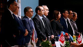 أعضاء لجنة الانتخابات المستقلة قبل مؤتمر صحفي في تونس (أرشيف)