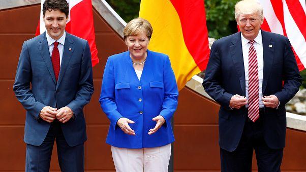 Justin Trudeau, primer ministro de Canadá, Angela Merkel, canciller de Alemania y Donald Trump, presidente de los Estados Unidos