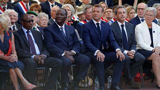 الرئيس الفرنسي، إيمانويل ماكرون رفقة الرئيسين الإيفواري الحسن واتارا والغيني ألفا كوندي