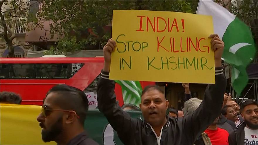Thousands protest for Kashmir outside London's Indian High Commission
