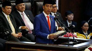 الرئيس الإندونيسي جوكو ويدودو يلقي كلمة أمام البرلمان في جاكرتا